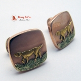 Vintage Hunting Dog Cuff links 12K Rose, Yellow Green Gold