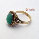 Vintage 18K Yellow Gold Jade Ring