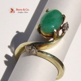 Vintage 14K Yellow Gold Jade and Diamond Ring