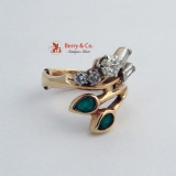 Vinateg Ring 14K Yellow Gold Diamonds and Emerals