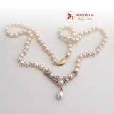 Bridal Pearl Necklace 14K Gold Cultured Pearls and Diamonds