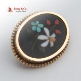 Vintage Pietra Dura Floral Oval Brooch 12K Gold