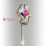 Art Deco 14 K Gold and ruby stick Pin