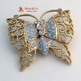 Butterfly Open Work Filigree Brooch or Pendant 14K Gold and Diamonds