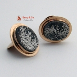 Graphite Crystals in Quartz 14 K Yellow Gold Cufflinks
