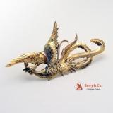 Vintage 14 K Gold Phoenix Bird Brooch 1900