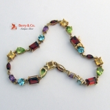 Multi Colored Gemstone Bracelet 18 K Gold