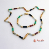 Multi Colored Jade Bracelet and Necklece 14 K Gold