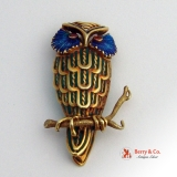 Vintage Owl Brooch 14 K Yellow Gold Enamel and Ruby