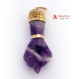 Fig Sign Amethyst and 18 K Gold Pendant
