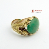 Gentleman's Dragon Ring 18 K Yellow Gold Jade