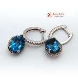 Royal Look Earrings 14K White Gold, Diamonds and London Blue Topaz