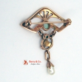 Jugendstil Art Nouveau Brooch 10 K Rose Gold White Opals and Baroque Pearl