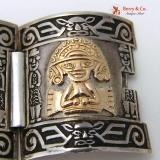 Mid Century Modern Peru Sterling 18KT Pre-Columbian Style Bracelet