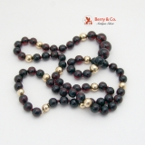 Amber Burgundy Dark Cherry Brown Round Beads 14 K Gold Women Necklace