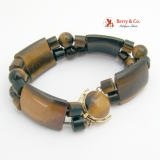 Tigers Eye Gemstone 14 K Yellow Gold Bracelet