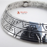 Aztec Design Choker Necklace Sterling Silver Mexico Signed RH