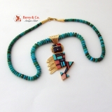 Native American Turquoise and 14 K Gold Necklace Pendant Thunderbird by Jim Yazzie