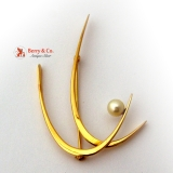 Art Moderne Brooch Pearl and 14 K Yellow Gold