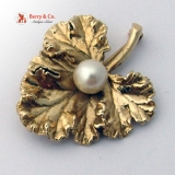 Vintage Cabbage Leaf Brooch 14 K Yellow Gold and Pearl