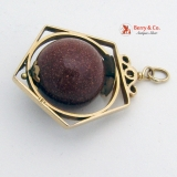 Vintage Sun Stone Bead Pendant in 18 K Rose Gold