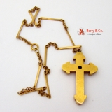 Victorian Cross Pendant Necklace 14 K Gold Garnet