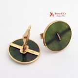 Large Nephrite  Button Cufflinks 14 K Gold