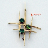 Modernist Brooch 14 K Gold Peridot and Tourmaline Stones