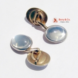 Vintage Moonstone Cufflinks 14 K Gold