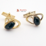 Modernist Cufflinks 14 K Yellow Gold Oval Onyx Cabochon