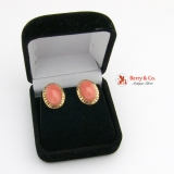 Oval Coral Earrings Greek Key Border 14 K Gold