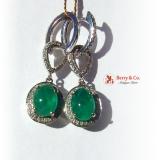 Emerald and Diamond Drop Earrings 14 K White Gold