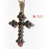 Bohemian Red Garnet Gothic Cross Pendant in 14 K Yellow Gold