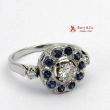 Decadent Edwardian Diamond & Sapphire Engagement Ring 14 K White Gold