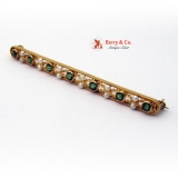 Vintage Bar Pin Peridot Seed Pearls 14 K Gold