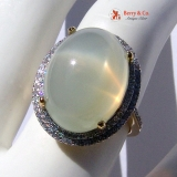 Cocktail Ring Moonstone Diamonds 14 K Gold
