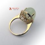 Cocktail Ring Moonstone Diamonds 14 K Gold