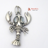 Vintage Lobster Brooch Sterling Silver Moonstones