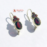 Garnet Earrings 14 K Yellow Gold