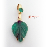 Carved Leaf Emerald Pendant 14 K Gold