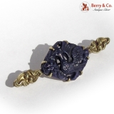 Art Nouveau Bar Pin Brooch 14 K Gold Carved Lapis Bird Design