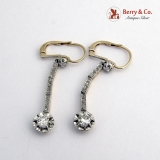 Antique Long Diamond Earrings 14 K Gold