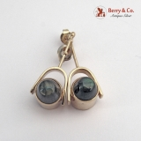 Modern Earrings Spur Form 14 K Gold Labradorite Cabochons