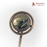 Antique Stick Pin Moss Agate 14 K Gold