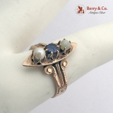 Antique Victorian Ring 10 K Rose Gold Sapphire Pearls