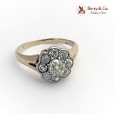 1.5 Ct Diamond Cluster Gold Engagement Ring, Antique c. 1910