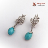 Persian Turquoise Diamond Earrings 14 K White Gold