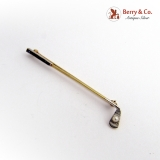 Vintage Golf Club 14 K Gold with a Small Pearl Ball Sapphires