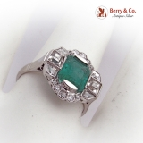 Art Deco 14 K White Gold Diamond Emerald Ring