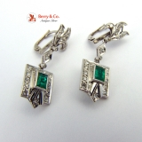 Art Deco Natural Emerald Earrings Diamonds 14 K White Gold